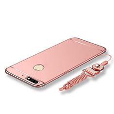 Coque Bumper Luxe Metal et Plastique Etui Housse avec Laniere pour Huawei Enjoy 8 Or Rose