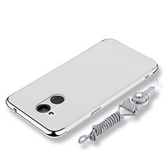 Coque Bumper Luxe Metal et Plastique Etui Housse avec Laniere pour Huawei Honor 6C Pro Argent