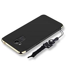 Coque Bumper Luxe Metal et Plastique Etui Housse avec Laniere pour Huawei Honor 6C Pro Noir