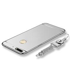Coque Bumper Luxe Metal et Plastique Etui Housse avec Laniere pour Huawei Honor 7C Argent