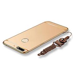Coque Bumper Luxe Metal et Plastique Etui Housse avec Laniere pour Huawei Honor 7C Or