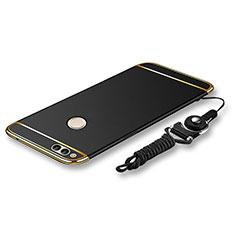 Coque Bumper Luxe Metal et Plastique Etui Housse avec Laniere pour Huawei Honor 7X Noir