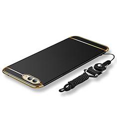 Coque Bumper Luxe Metal et Plastique Etui Housse avec Laniere pour Huawei Honor View 10 Noir