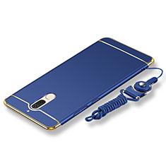 Coque Bumper Luxe Metal et Plastique Etui Housse avec Laniere pour Huawei Mate 10 Lite Bleu