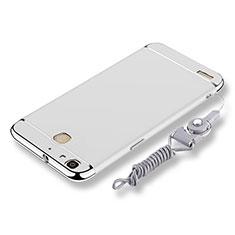 Coque Bumper Luxe Metal et Plastique Etui Housse avec Laniere pour Huawei P8 Lite Smart Argent