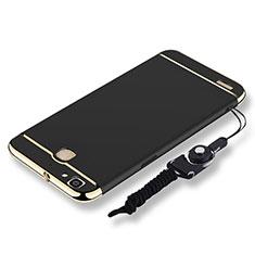 Coque Bumper Luxe Metal et Plastique Etui Housse avec Laniere pour Huawei P8 Lite Smart Noir