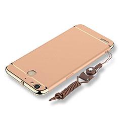 Coque Bumper Luxe Metal et Plastique Etui Housse avec Laniere pour Huawei P8 Lite Smart Or