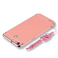 Coque Bumper Luxe Metal et Plastique Etui Housse avec Laniere pour Huawei P8 Lite Smart Or Rose