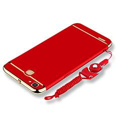 Coque Bumper Luxe Metal et Plastique Etui Housse avec Laniere pour Huawei P8 Lite Smart Rouge