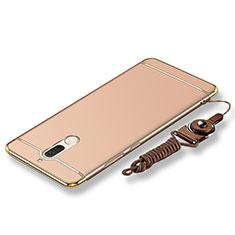 Coque Bumper Luxe Metal et Plastique Etui Housse avec Laniere pour Huawei Rhone Or