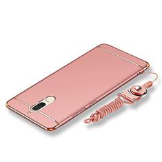 Coque Bumper Luxe Metal et Plastique Etui Housse avec Laniere pour Huawei Rhone Or Rose