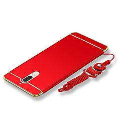 Coque Bumper Luxe Metal et Plastique Etui Housse avec Laniere pour Huawei Rhone Rouge