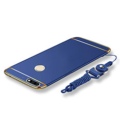 Coque Bumper Luxe Metal et Plastique Etui Housse avec Laniere pour Huawei Y7 (2018) Bleu