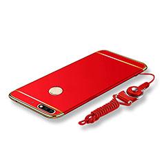 Coque Bumper Luxe Metal et Plastique Etui Housse avec Laniere pour Huawei Y7 (2018) Rouge