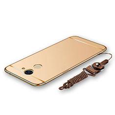 Coque Bumper Luxe Metal et Plastique Etui Housse avec Laniere pour Huawei Y7 Prime Or