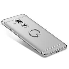 Coque Bumper Luxe Metal et Plastique Etui Housse avec Support Bague Anneau A01 pour Huawei G9 Plus Argent