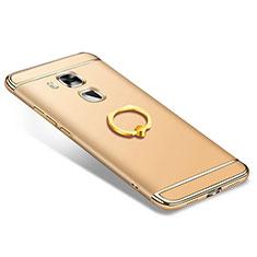 Coque Bumper Luxe Metal et Plastique Etui Housse avec Support Bague Anneau A01 pour Huawei G9 Plus Or
