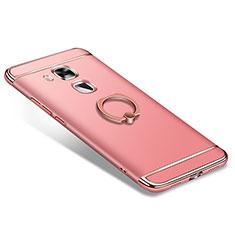 Coque Bumper Luxe Metal et Plastique Etui Housse avec Support Bague Anneau A01 pour Huawei G9 Plus Or Rose