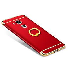 Coque Bumper Luxe Metal et Plastique Etui Housse avec Support Bague Anneau A01 pour Huawei G9 Plus Rouge