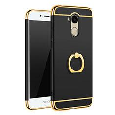 Coque Bumper Luxe Metal et Plastique Etui Housse avec Support Bague Anneau A01 pour Huawei Honor 6A Noir