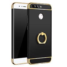 Coque Bumper Luxe Metal et Plastique Etui Housse avec Support Bague Anneau A01 pour Huawei Honor 8 Pro Noir
