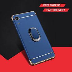 Coque Bumper Luxe Metal et Plastique Etui Housse avec Support Bague Anneau A01 pour Huawei Honor Play 8A Bleu