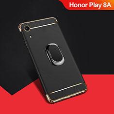 Coque Bumper Luxe Metal et Plastique Etui Housse avec Support Bague Anneau A01 pour Huawei Honor Play 8A Noir