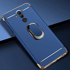 Coque Bumper Luxe Metal et Plastique Etui Housse avec Support Bague Anneau A01 pour Huawei Mate 20 Lite Bleu