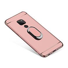 Coque Bumper Luxe Metal et Plastique Etui Housse avec Support Bague Anneau A01 pour Huawei Mate 20 Or Rose