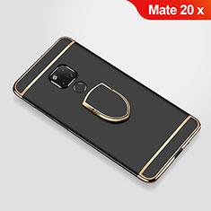 Coque Bumper Luxe Metal et Plastique Etui Housse avec Support Bague Anneau A01 pour Huawei Mate 20 X Noir