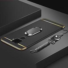 Coque Bumper Luxe Metal et Plastique Etui Housse avec Support Bague Anneau A01 pour Huawei Mate 30 Lite Noir