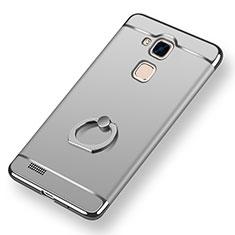 Coque Bumper Luxe Metal et Plastique Etui Housse avec Support Bague Anneau A01 pour Huawei Mate 7 Argent