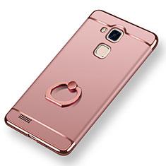 Coque Bumper Luxe Metal et Plastique Etui Housse avec Support Bague Anneau A01 pour Huawei Mate 7 Or Rose