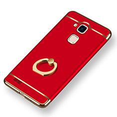Coque Bumper Luxe Metal et Plastique Etui Housse avec Support Bague Anneau A01 pour Huawei Mate 7 Rouge