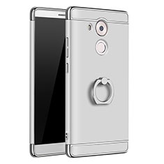 Coque Bumper Luxe Metal et Plastique Etui Housse avec Support Bague Anneau A01 pour Huawei Mate 8 Argent