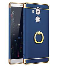 Coque Bumper Luxe Metal et Plastique Etui Housse avec Support Bague Anneau A01 pour Huawei Mate 8 Bleu