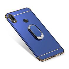 Coque Bumper Luxe Metal et Plastique Etui Housse avec Support Bague Anneau A01 pour Huawei P Smart+ Plus Bleu