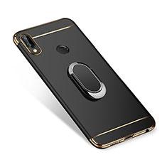 Coque Bumper Luxe Metal et Plastique Etui Housse avec Support Bague Anneau A01 pour Huawei P Smart+ Plus Noir