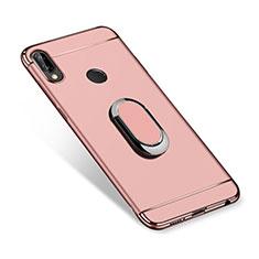 Coque Bumper Luxe Metal et Plastique Etui Housse avec Support Bague Anneau A01 pour Huawei P Smart+ Plus Or Rose