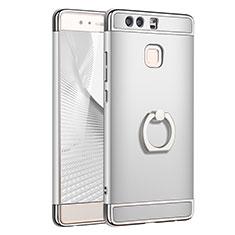 Coque Bumper Luxe Metal et Plastique Etui Housse avec Support Bague Anneau A01 pour Huawei P9 Argent