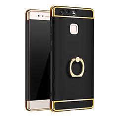 Coque Bumper Luxe Metal et Plastique Etui Housse avec Support Bague Anneau A01 pour Huawei P9 Plus Noir