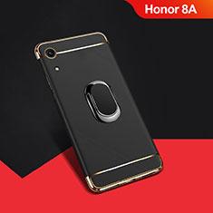Coque Bumper Luxe Metal et Plastique Etui Housse avec Support Bague Anneau A01 pour Huawei Y6 Pro (2019) Noir