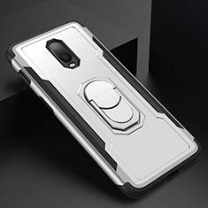 Coque Bumper Luxe Metal et Plastique Etui Housse avec Support Bague Anneau A01 pour OnePlus 6T Argent