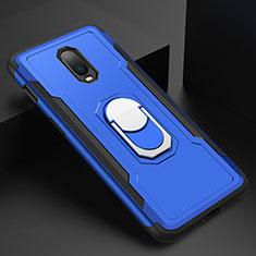 Coque Bumper Luxe Metal et Plastique Etui Housse avec Support Bague Anneau A01 pour OnePlus 6T Bleu