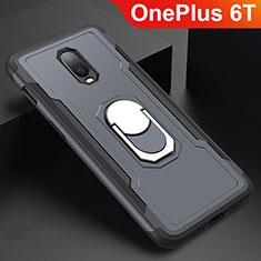 Coque Bumper Luxe Metal et Plastique Etui Housse avec Support Bague Anneau A01 pour OnePlus 6T Gris