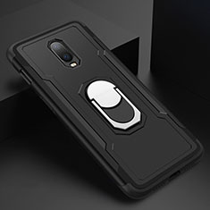 Coque Bumper Luxe Metal et Plastique Etui Housse avec Support Bague Anneau A01 pour OnePlus 6T Noir