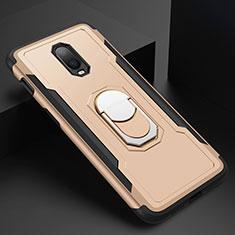 Coque Bumper Luxe Metal et Plastique Etui Housse avec Support Bague Anneau A01 pour OnePlus 6T Or