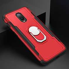 Coque Bumper Luxe Metal et Plastique Etui Housse avec Support Bague Anneau A01 pour OnePlus 6T Rouge