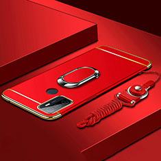 Coque Bumper Luxe Metal et Plastique Etui Housse avec Support Bague Anneau A01 pour Oppo A53s Rouge