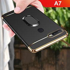 Coque Bumper Luxe Metal et Plastique Etui Housse avec Support Bague Anneau A01 pour Oppo A7 Noir